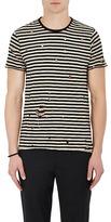 Barneys New York Men's Striped Distressed Cotton T-Shirt
