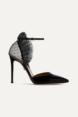 Gianvito Rossi 105 Ruffled Point D'esprit Tulle And Patent-leather Pumps - Black