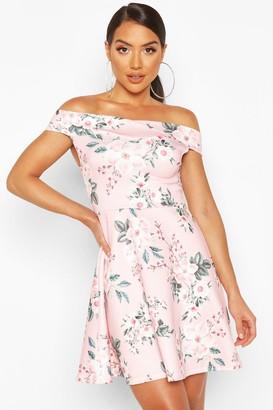 boohoo Floral Print Off The Shoulder Skater Dress