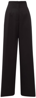 Jil Sander Satin-stripe Wool-twill Wide-leg Trousers - Black