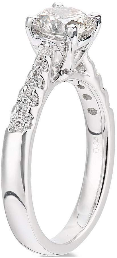 Very 18ct White Gold Channel Set 70 Point Diamond Ring With Diamond Set Shoulders