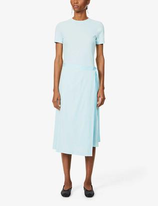 Rosetta Getty Wrap-over panel cotton midi dress