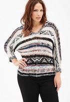 Forever 21 FOREVER 21+ Plus Size Hooded Open-Knit Striped Sweater