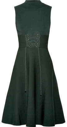 Maje Lace-up Stretch-knit Dress - Dark green