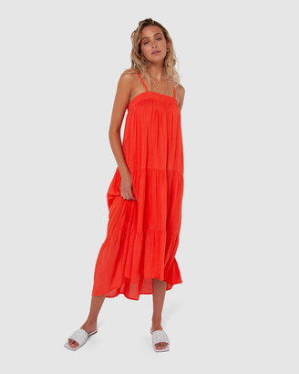 Madison The Label - Women's Red Midi Dresses - Quinn Dress - Size One Size, S at The Iconic