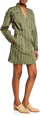 Derek Lam 10 Crosby Striped Sateen Utility Wrap Shift Dress