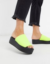 Steve Madden Slinky chunky flatform sandals in neon yellow