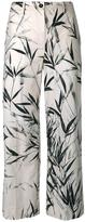 Blumarine leaves print cropped trousers - women - Cotton/Spandex/Elastane - 40