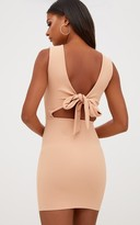 PrettyLittleThing Nude Bow Back Bodycon Dress
