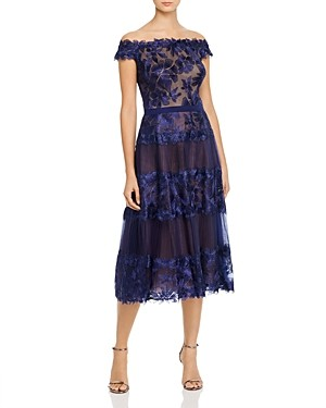 Tadashi Shoji Off-the-Shoulder Floral Embroidered Dress