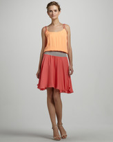 Halston Tie-Shoulder Colorblock Dress