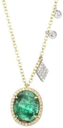 Meira T 14K Yellow Gold, 14K White Gold, Emerald & Diamond Pendant Necklace
