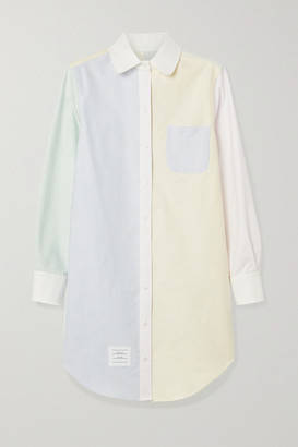 Thom Browne Patchwork Striped Cotton Oxford Dress - White