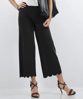 Lydiane Women's Casual Pants BLACK - Black Scallop-Hem High-Rise Crop Pants - Women