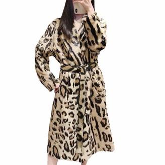 NKJGFV Leopard Print Faux Fur Coat Long Sleeve with Belt Turn Down Collar Fur Jacket Winter Women Teddy Coat fau 4XL