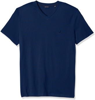 Nautica Men's Standard Short Sleeve Slim Fit Striped V Neck T-Shirt