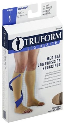 Truform Open Toe, Knee High 20-30 mmHg Compression Stockings, Beige, X-Large