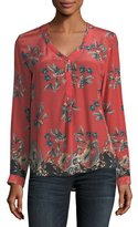 Tolani Genevia Long-Sleeve Floral-Print Silk Blouse, Plus Size