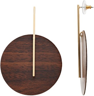 Sonoma Goods For Life Gold Tone Wood Circular Post Drop Earrings