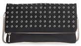 Sole Society 'Gamble' Grommet Faux Leather Flap Clutch - Black