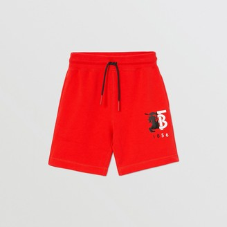 Burberry Childrens Contrast Logo Graphic Cotton Drawcord Shorts