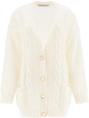 Alessandra Rich Mohair Cardigan With Jewel Buttons