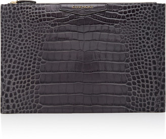 Givenchy Antigona Large Croc-Effect Leather Pouch