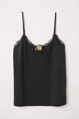 H&M Jersey strappy top with lace