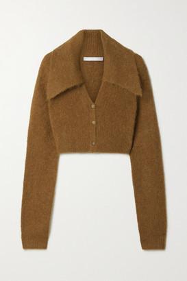 Helmut Lang Cropped Alpaca-blend Cardigan - Brown
