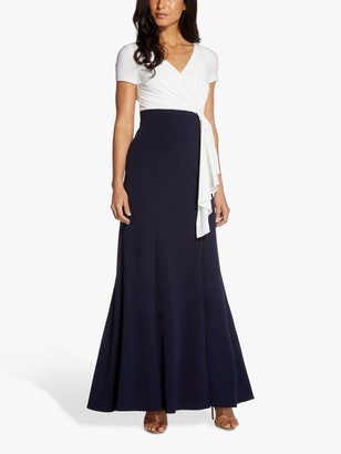 Adrianna Papell Crepe Colour Block Maxi Gown, Ivory/Midnight