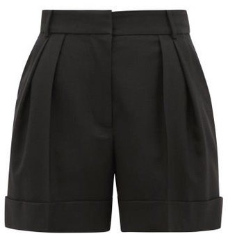 Alexander McQueen High-rise Pleated Virgin-wool Shorts - Black