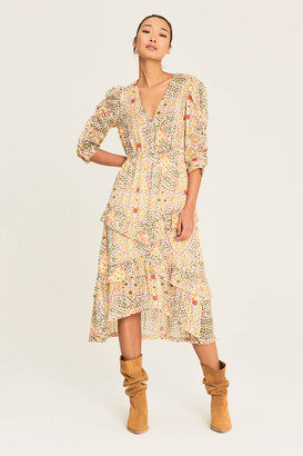 BA&SH Robe Happy Dress - polyester | ecru | Floral design - Ecru