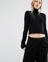 Weekday Mix Rib High Neck Cropped Sweater