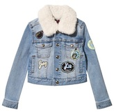 Juicy Couture Denim Jacket with Shearling Collar and Fox and Badge Appliqe