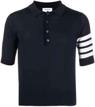 Thom Browne shortsleeved 4-Bar polo shirt