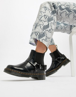 Dr. Martens Wincox Black Leather Harness Chunky Chelsea Boots
