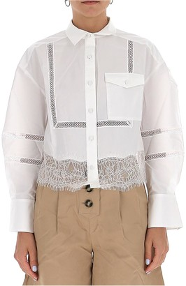 Self-Portrait White Cotton Poplin Lace Trim Shirt