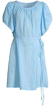 120% Lino Butterfly Fringe-Trim Belted Dress