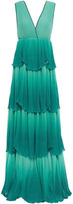 Just Cavalli Tiered Pleated Degrade Georgette Maxi Dress