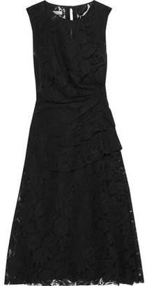Oscar de la Renta Ruffle-trimmed Cotton-blend Corded Lace Dress