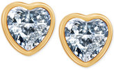 T Tahari Gold-Tone Crystal Heart Stud Earrings