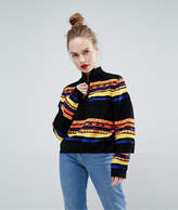Asos Sweater with High Neck in Graphic Pattern