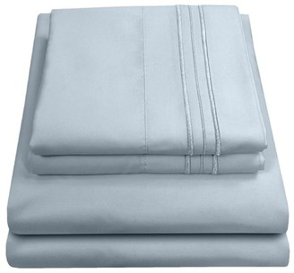 Madam Marie Madame Marie 1500 Thread Count Contemporary Microfiber Bedroom Solid Color Bed Sheet Set California King - Mist