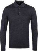 Boss Banet Charcoal Grey Long Sleeve Polo Shirt