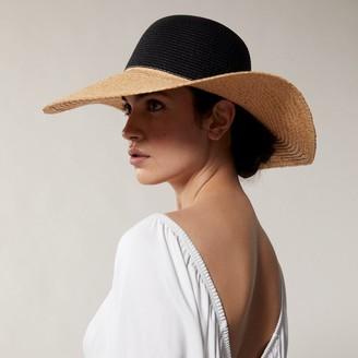 Love & Lore Love And Lore Straw Sun Hat Colourblock Black And Natural
