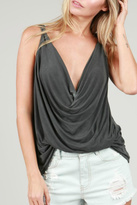 POL Draped Flowy Tank Top