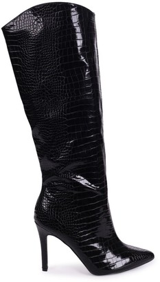 Linzi CONNIE - Black Croc Patent Cowboy Style Stiletto Long Boot