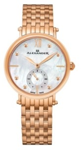 Stuhrling Original Alexander Watch A201B-03, Ladies Quartz Small-Second Watch with Rose Gold Tone Stainless Steel Case on Rose Gold Tone Stainless Steel Bracelet