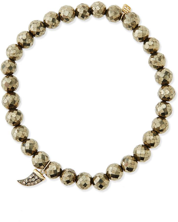 Sydney Evan Pyrite Beaded Bracelet with Small Diamond Horn
