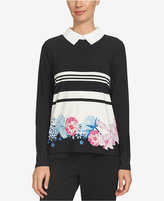 CeCe Printed Collared Blouse